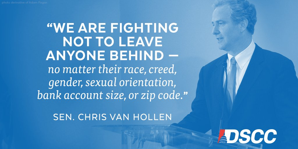 With DSCC chairman @VanHollenForMD, we will NEVER back down from Trump's hate.