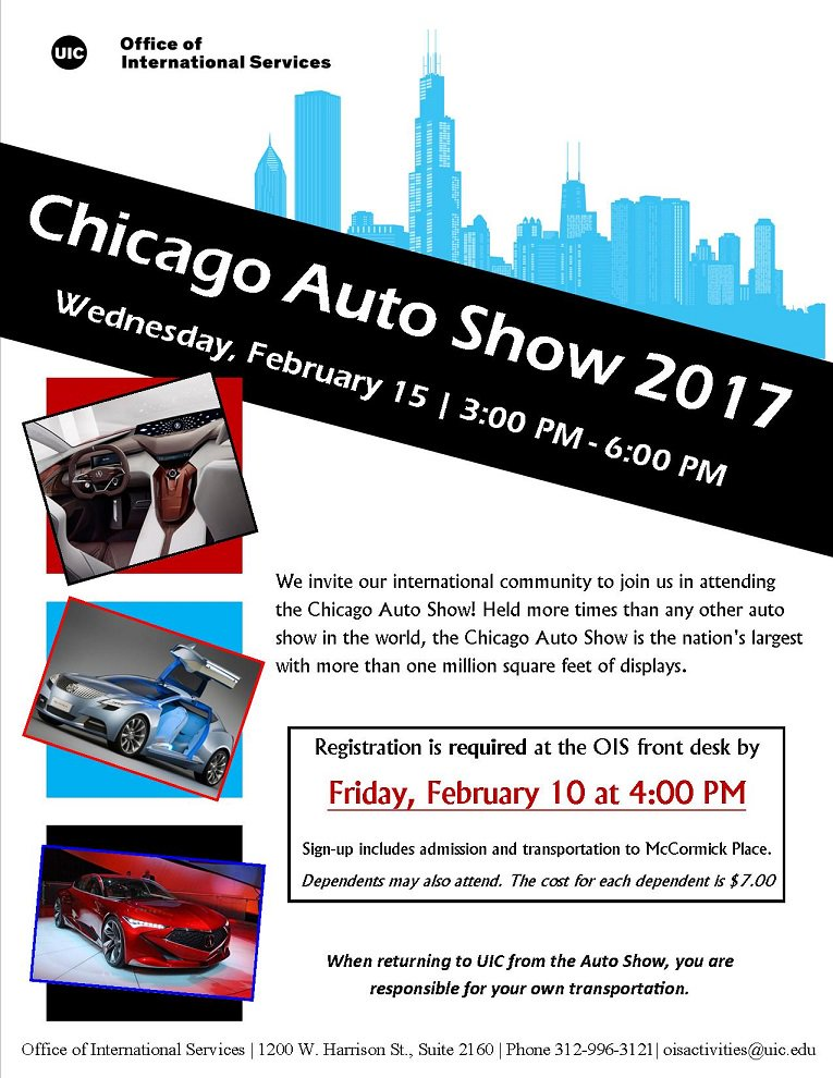 When Is The Chicago Auto Show >> Uic Ois On Twitter Join Ois For The Chicago Auto Show On