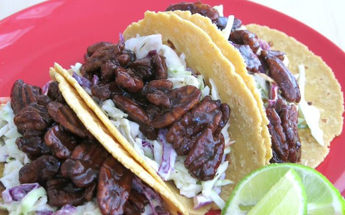 BBQ Pecan and Ranch Slaw Tacos [Vegan]