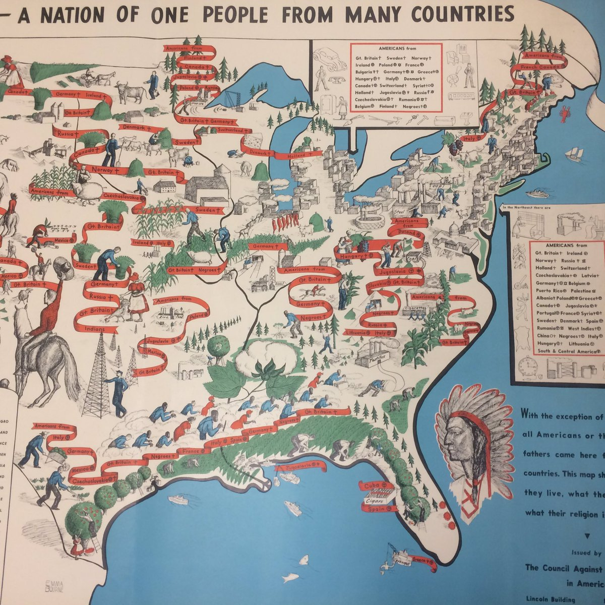 Harvardmapcollection On Twitter Immigration In Us History Sincere Fraught 1940 Map America A Nation Of One People From Many Countries More