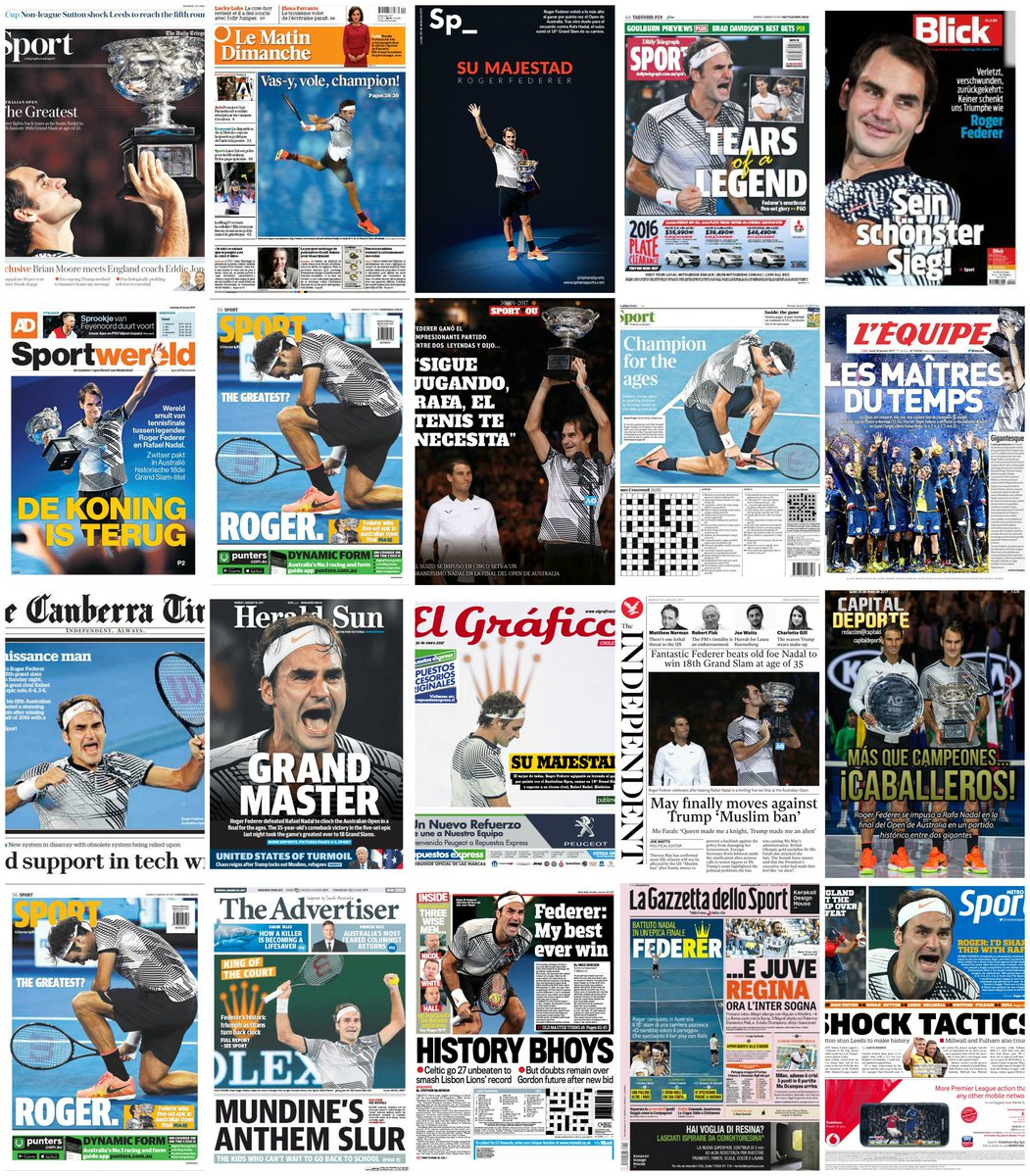 Press all over the world celebrating Roger Federer's 18th Grand Slam and his 5th Australian Open title. https://t.co/lPJuNUbj7Y