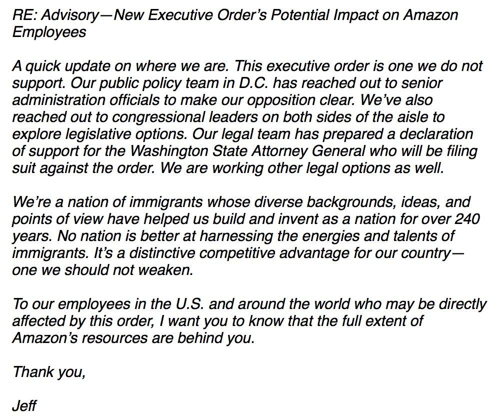 Jeff Bezos Email Today To Amazon Employees Regarding Trump S Anti
