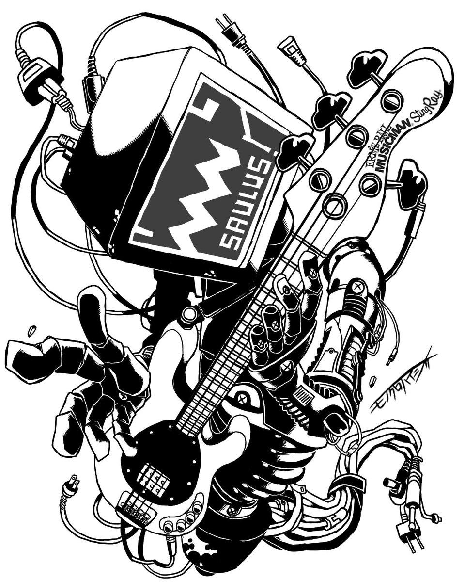 """白黒灰脂 on twitter: """"ベースを演奏するマシーンを描いてみた。ベースは"""