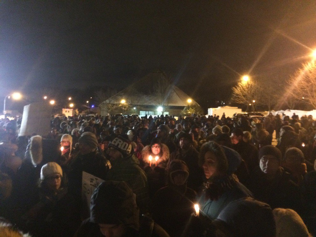 Hundreds of people gathering in Quebec City for vigil.