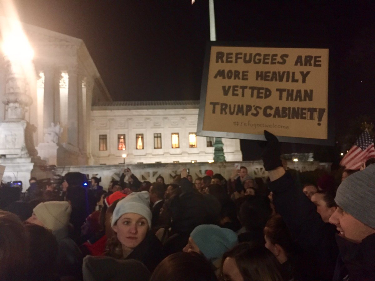 This anti-#MuslimBan sign outside #SCOTUS says it all. #RefugeesWelcome