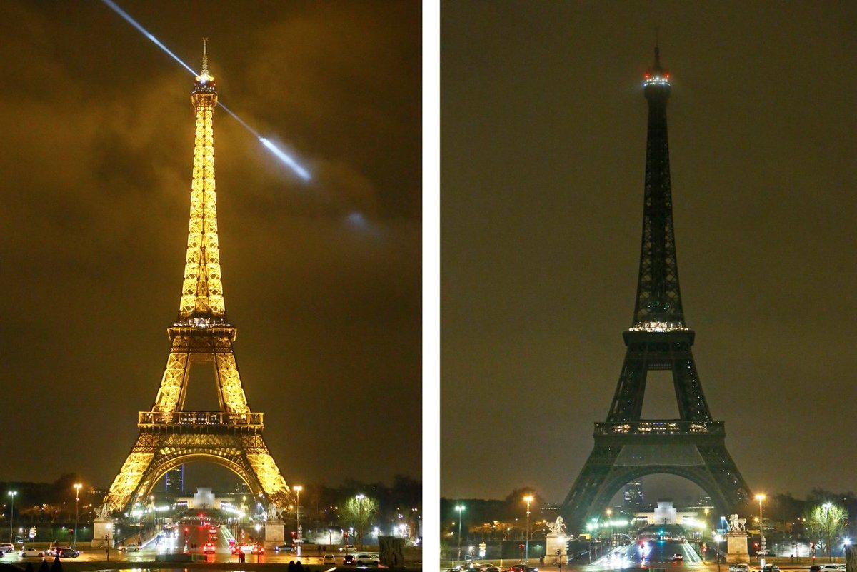 À #Paris, en #France, la tour Eiffel s'est éteinte à minuit (18h au Québec) en soutien aux victime de l' #attentatquebec