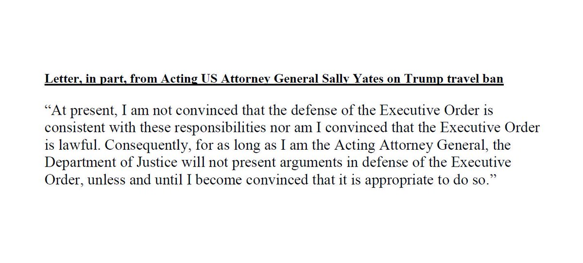 Acting Attorney General Yates tells DOJ to 'not present arguments in defense' of new Trump travel ban,  reports.
