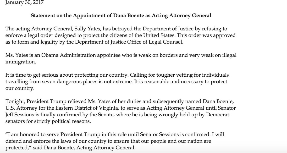 Trump's note for firing Sally Yates