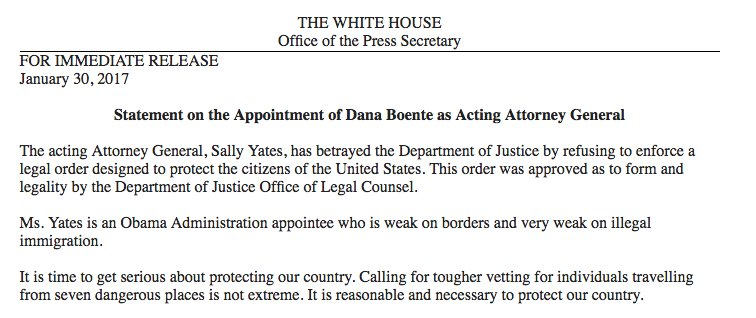 This is not the language of a democracy. @WhiteHouse statement on firing of  acting Attorney General https://t.co/GDehNcmLJs