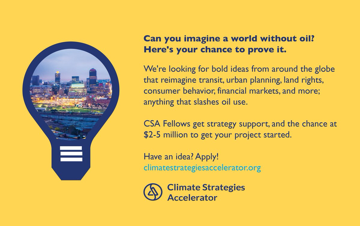 Have an idea to end the Age of Oil? Apply for #ClimateStrategiesAccelerator deadline extended to Feb 5!  Apply here:  https://www. climatestrategiesaccelerator.org/?utm_source=ct  &nbsp;  <br>http://pic.twitter.com/SBDaJATurI