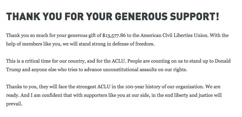 ACLU On Twitter Thank You For Your Generous Donation