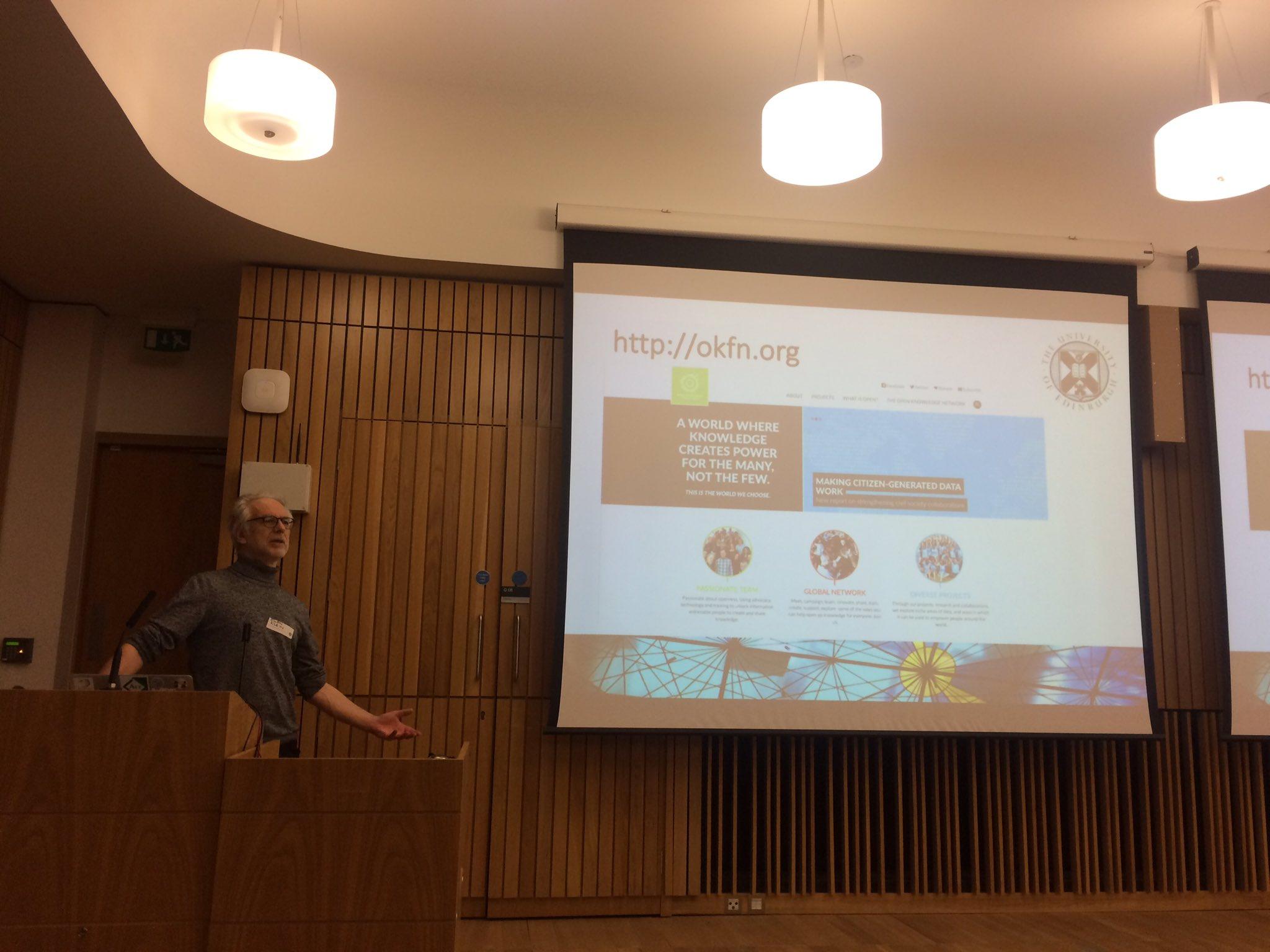 .@ewanhklein introduces the Open Knowledge Scotland @okfnscot network & events. #UoEOKN https://t.co/QcCdXgud17