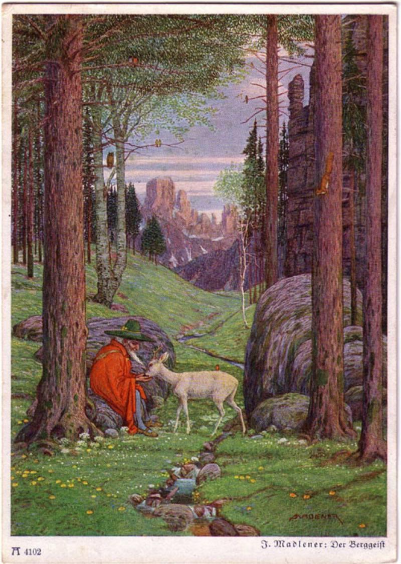 Entre los papeles de #Tolkien se encontró una postal de 'Der Berggeist' del pintor Josef Madlener, con la inscripción 'origen de #Gandalf' https://t.co/Clbx1abQ4v