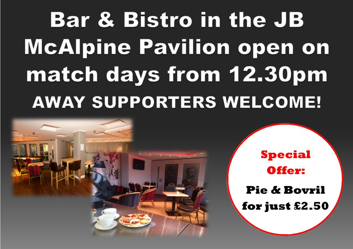 Queens Park FC On Twitter Our Bar Bistro In The JB McAlpine Pavilion Is Open For Both Home And Away Supporters To Use Pre Match At All