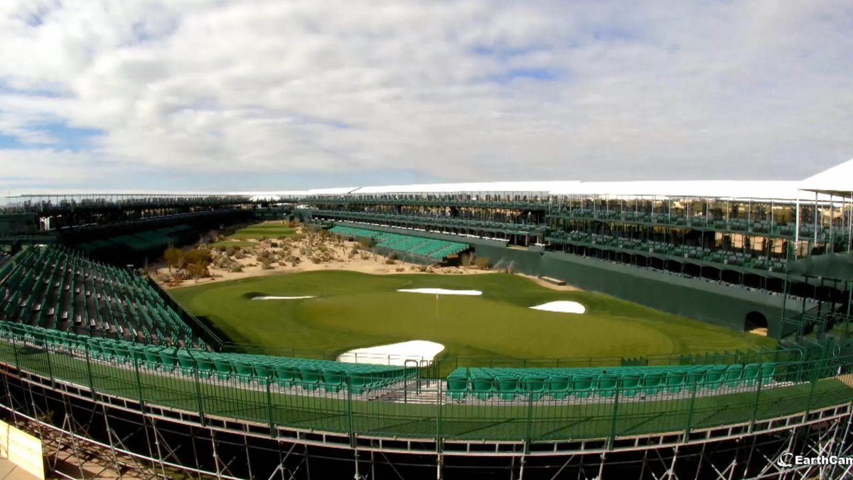 Watch TPC Scottsdale's infamous 16th stadium hole rise from the desert in this time-lapse video