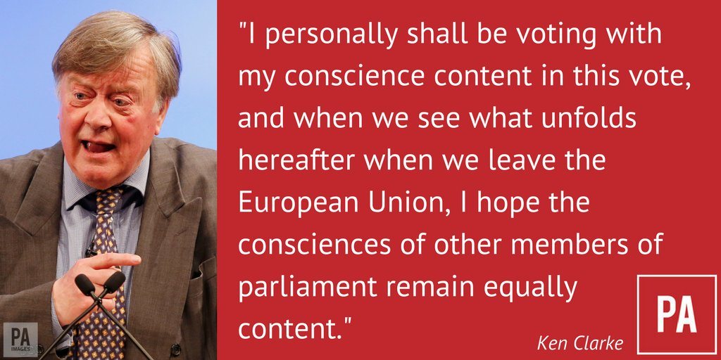 Ken Clarke says he will be voting with his conscience in his decision to vote against Article 50 #BrexitDebate