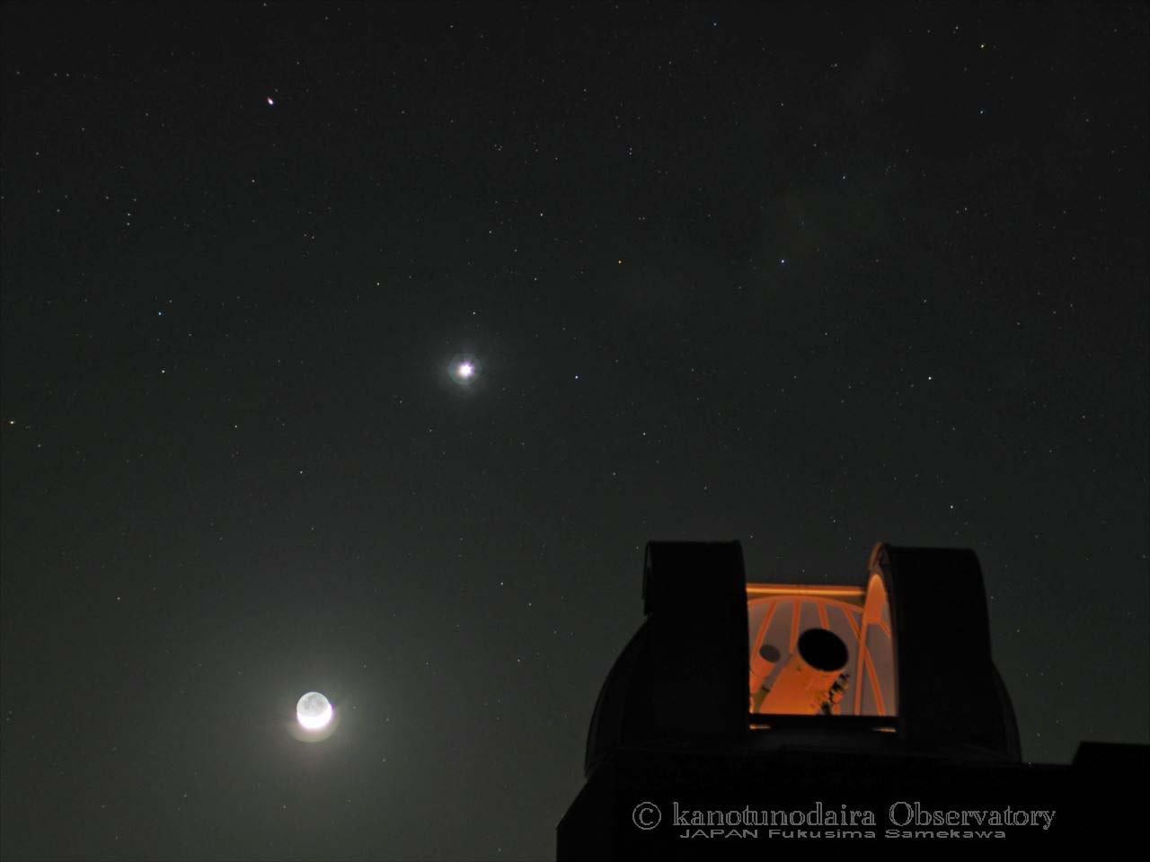 夕暮の月と惑星ショー