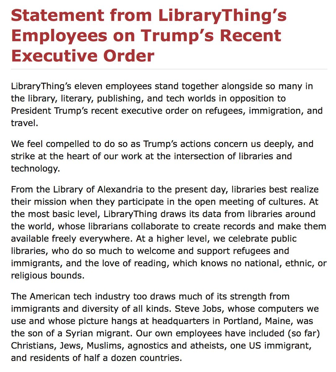 Statement from @LibraryThing's Employees on Trump's Recent Executive Order: https://t.co/Aa5jNPO6dI https://t.co/JUhPGBGuxL