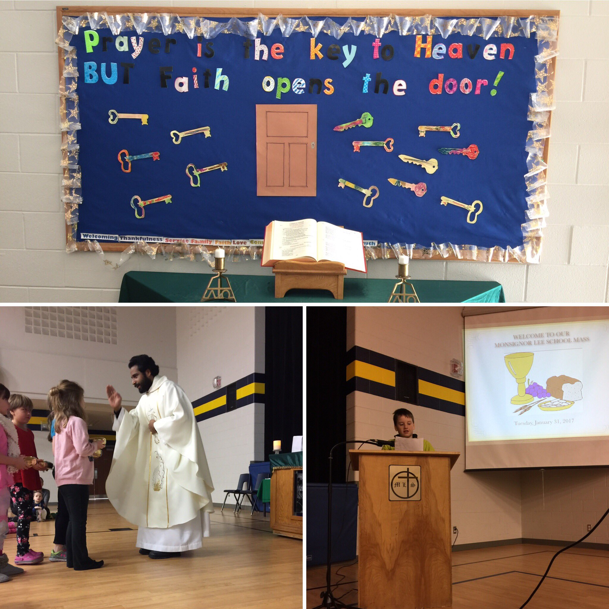 A beautiful morning of celebrating our faith at MLE. Thank you Fr GEORGE and Mr.T's Gr. 3/4 class #WWJD @SMCDSB https://t.co/aW0tdFcxxv