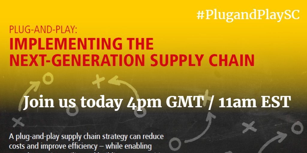 Welcome & thanks for joining us. During the next hour we want to hear your views on the Plug & Play #Supplychain #plugandplaySC https://t.co/I2j1vh1JjY