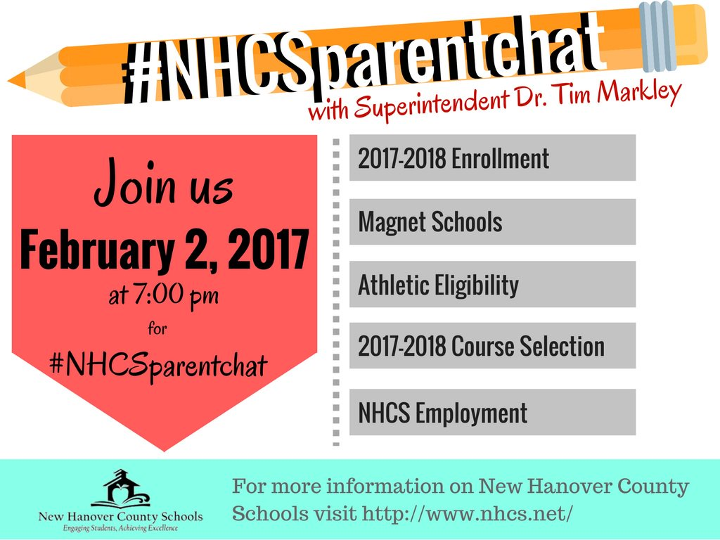 Tonight's #NHCSParentChat will be organized around 5 preset topics. Topic #1 is coming right up! https://t.co/QDjn6hKam7