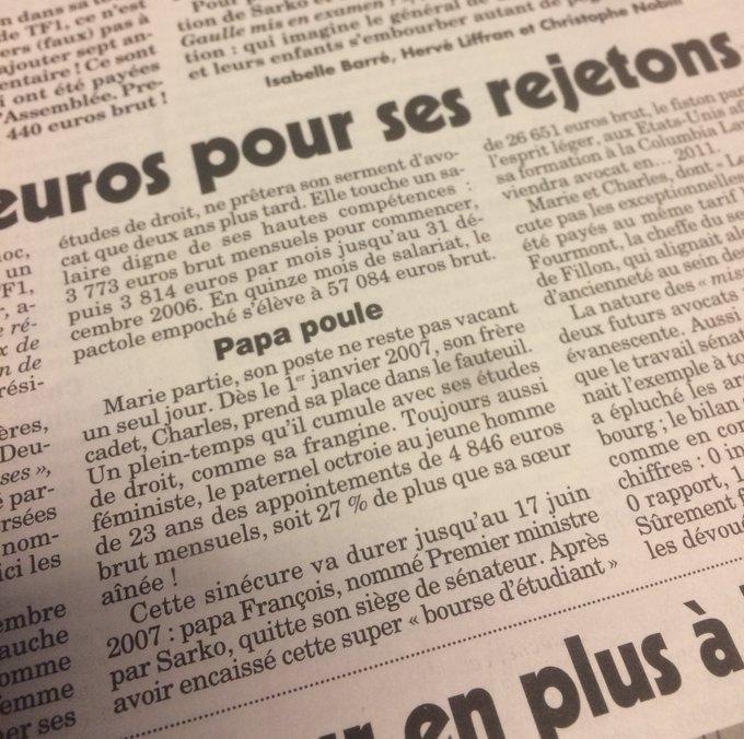 Respectant la tradition française, Fillon rémunère son fils 27% de plus que sa fille 💁🏻(selon le Canard enchaîné)