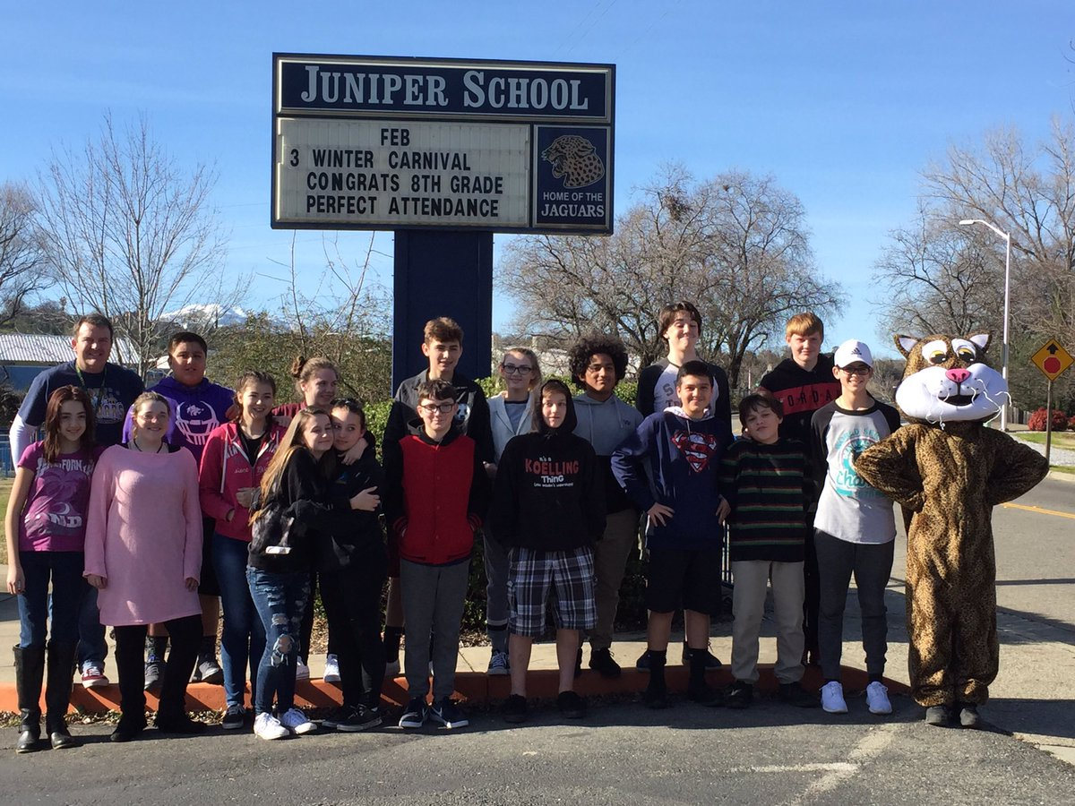 Celebrating 2 wks perfect attendance & responsible choices by Juniper 8th grade class!#excellenceforall#missadaymissalot