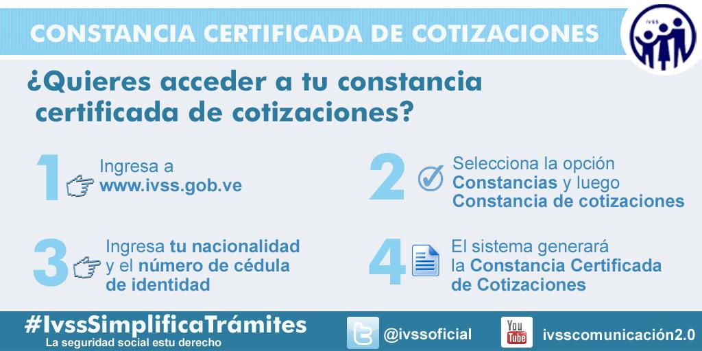 Ahora pueden consultar la Constancia certificada de sus cotizaciones en la página web del IVSS