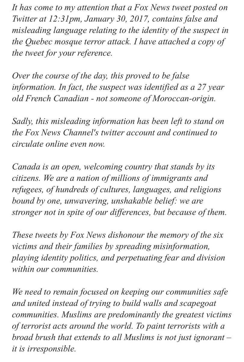 PM's dcomm calls on Fox News to correct the record or retract. #hw @katepurchase