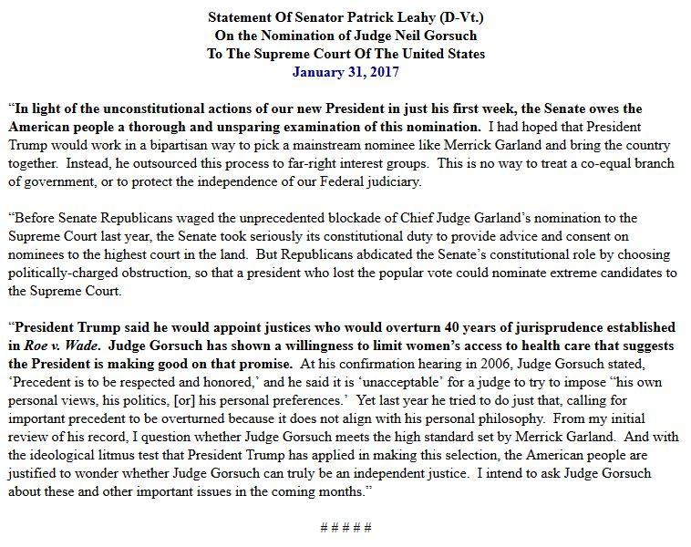 Here's @SenatorLeahy's statement on @POTUS' nomination of Neil Gorsuch to the U.S. Supreme Court. #VTpoli #SCOTUS https://t.co/JxUW7gKaae