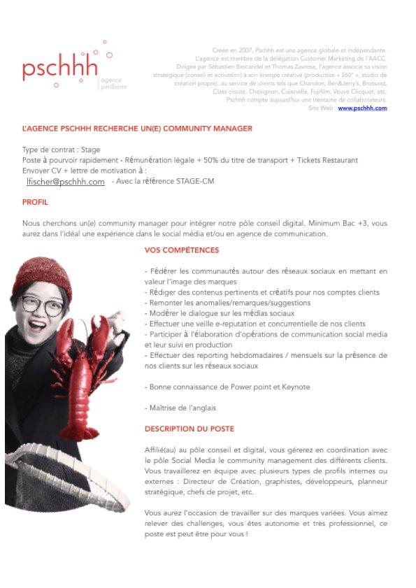 On cherche un stagiaire CM ASAP #stage #CommunityManager envoyez-nous vos CV à lfischer@pschhh.com ✌🏼 https://t.co/RViBWdJmPJ