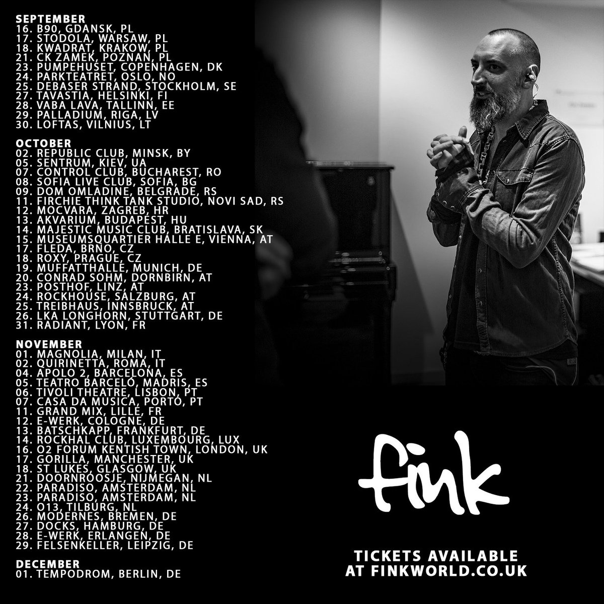 Pre-sale tickets for Fink's UK and European tour now available: https://t.co/RMwAH9ZKu1 https://t.co/PnnyVAi0kv