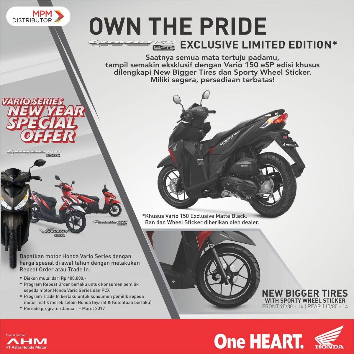 Harga Jual Sepeda Motor Honda Vario Gambar 125 New 110 Esp Cbs Iss Grande White Tangerang Infojember On Twitter Upgrade Tampilan Kamu Dg 150 Exclusive Limited Edition With Bigger