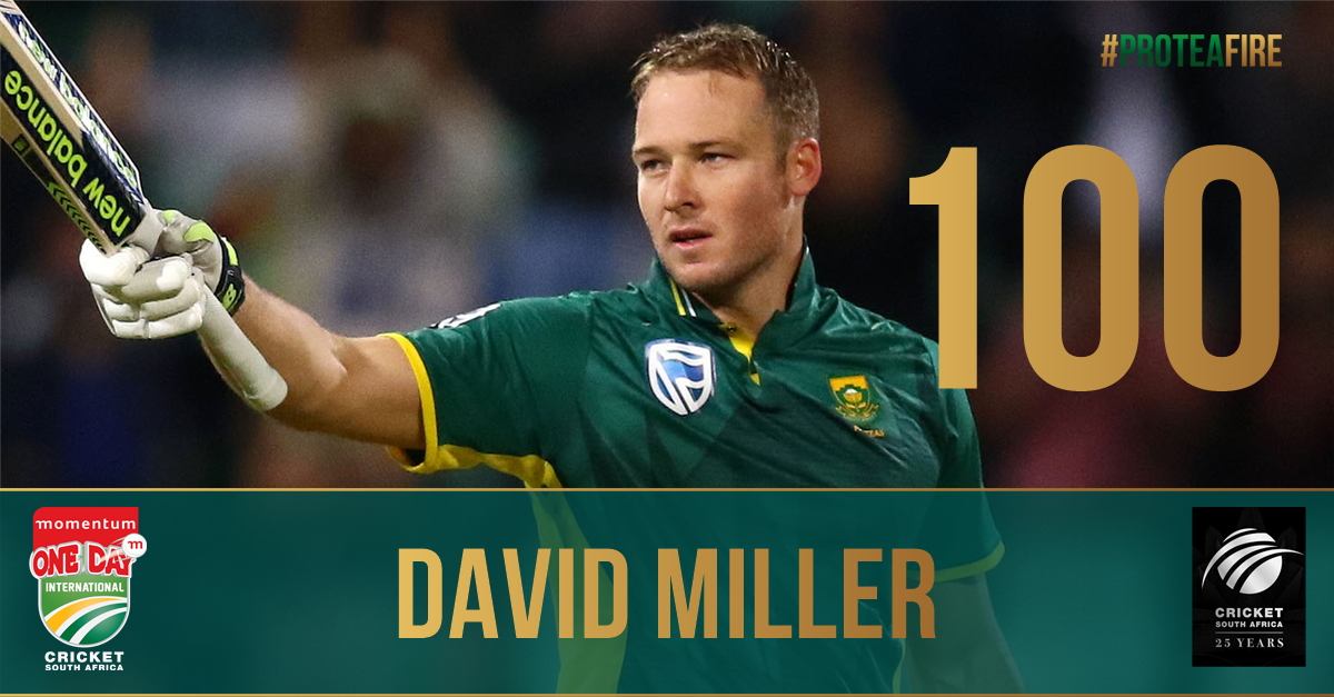 He runs 2 and that's ODI ton number 4 for DavidMillerSA12! Take a bow, you BEAUTY!