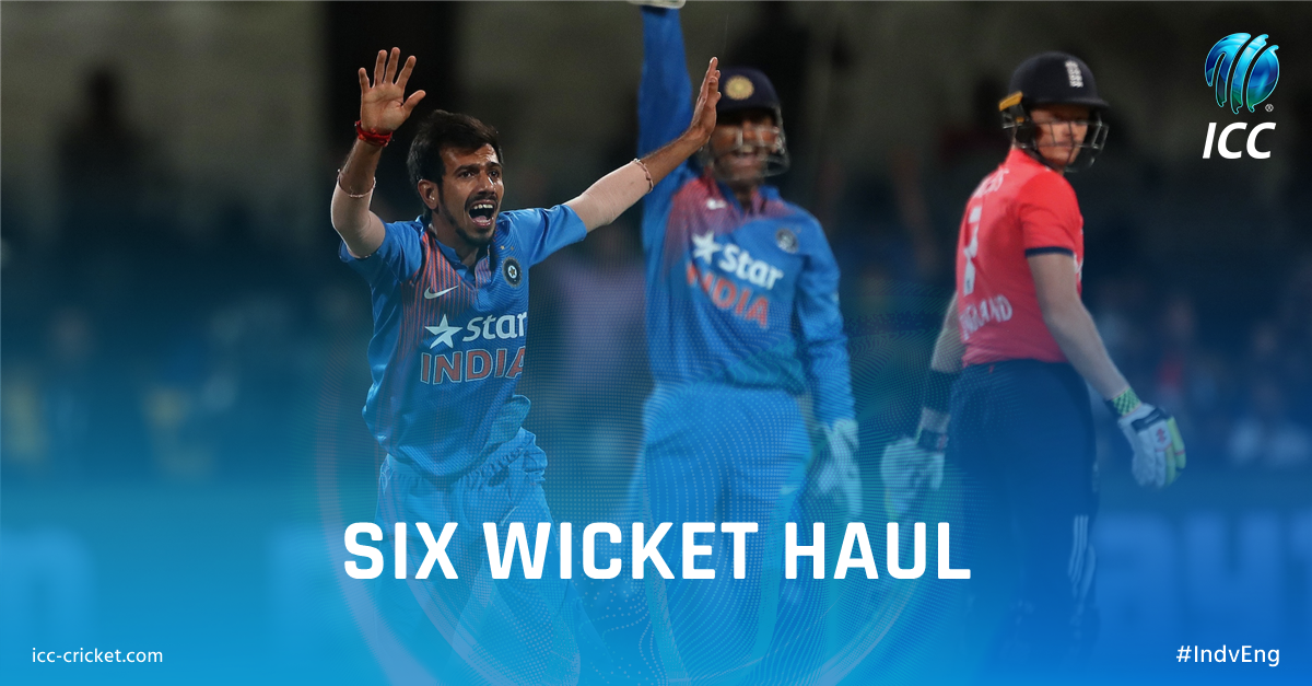 chahal! The first 5+ wicket haul for India in T20Is! Stunning performance!