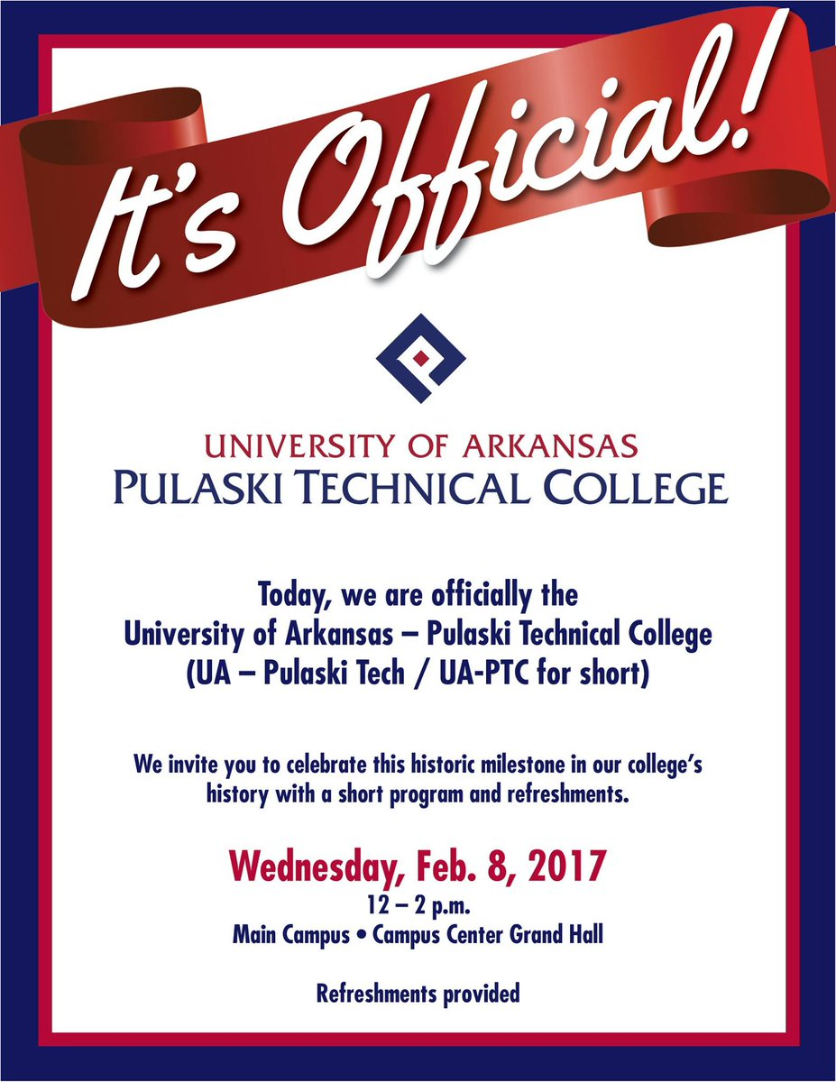 Ua pulaski tech on twitter its official today we are ua pulaski tech on twitter its official today we are officially the university of arkansas pulaski technical college ua pulaski tech ua ptc stopboris Images