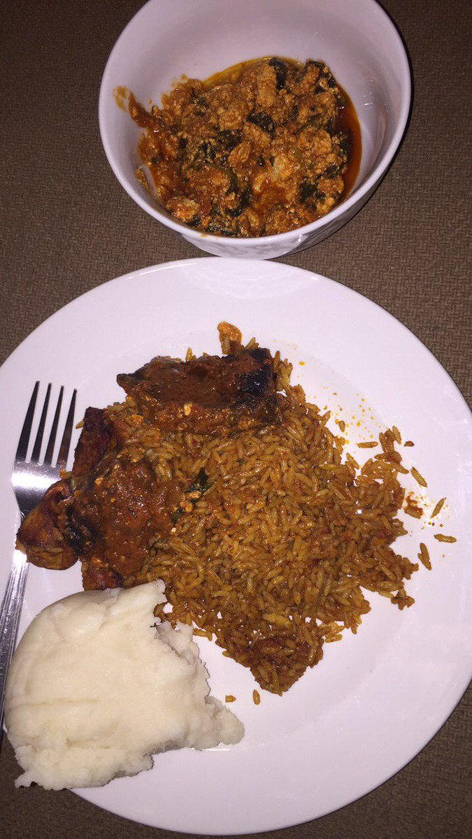 Jollof, beef, egusi, plantain, pounded yam = belly happpppy https://t.co/y9IzJuli5o