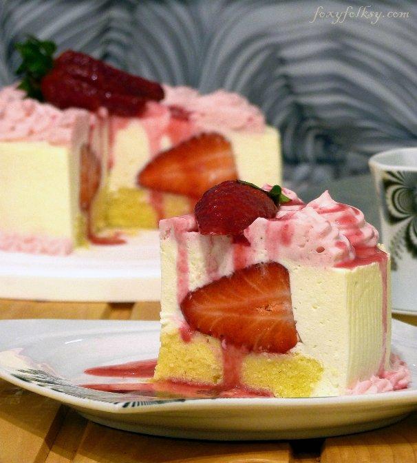 Pretty Easy Strawberries & Cream Cake