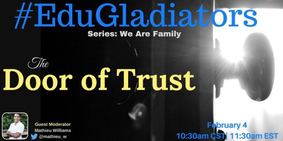 🗽 Join #EduGladiators SATURDAY! NEW series - We are Family & @mathieu_w leads diversity convo! #UDLchat #makeitreal #TXed #weirded #UTedchat https://t.co/nUrb35qdtn