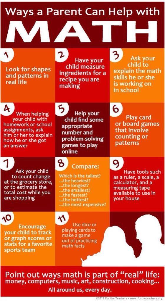 11 Ways a Parent Can Help with #Math by @ForTheTeachers #edchat #mathchat #teachertips https://t.co/rKWTEozad8