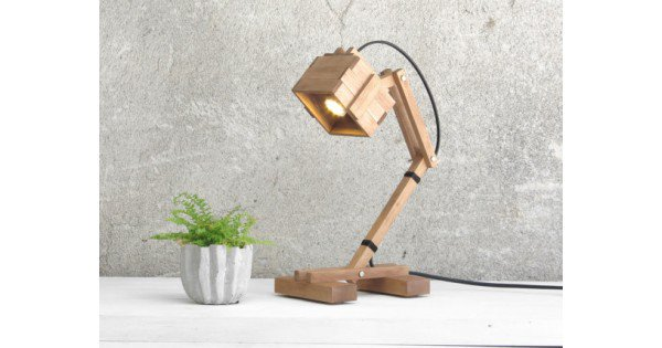 "Table Lamp ""Kran VI"", Wood Light, Wood Lighting, Desk Light, Table Light, Night Lamp, Wooden Lighting, Industrial Light, Bedroom Decor"