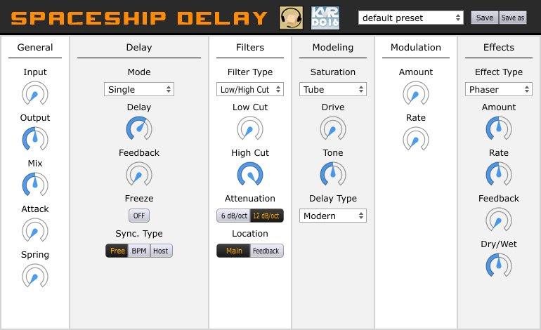 Spaceship DelayKORGのMonotron Delayにインスパイアされたディレイプラグイン。フィルターの出来が素晴らしいです。ダブリングも簡単です。