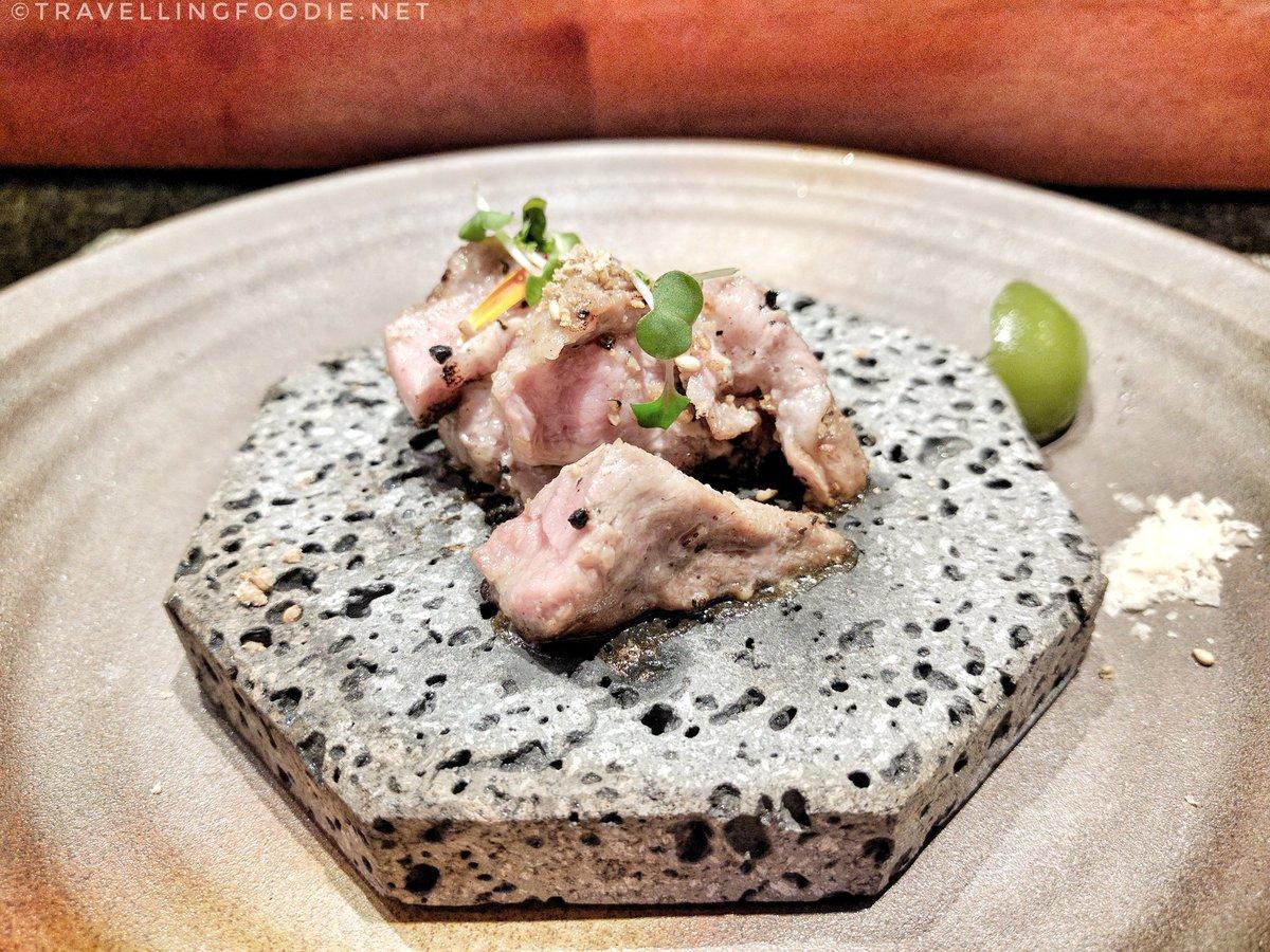 Pork in Volcano stone with Wakamom at Kame Omakase, Las Vegas
