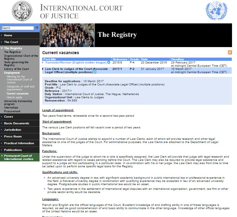 ICJ JOBS Law Clerk To Judges Multiple Positions P2 Deadline For Applications 10 March 2017 Bitly 2kWcyXZ Pictwitter WVKP2CdIuc