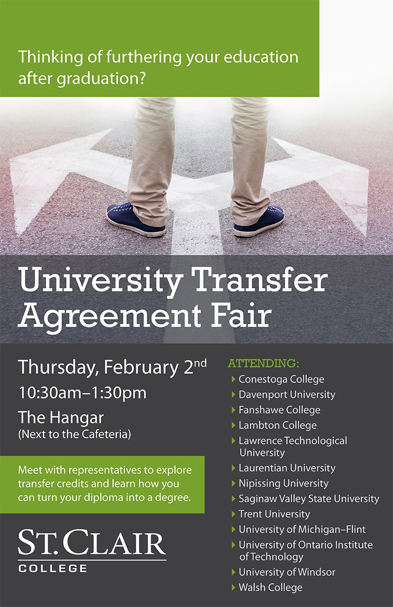 St Clair College On Twitter University Transfer Agreement Fair