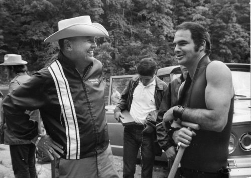 Happy birthday James Dickey With Burt Reynolds on the set of Deliverance.