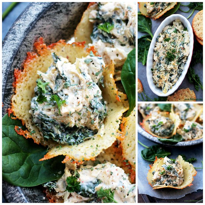 Spinach and Artichoke Dip Parmesan Cups Recipe