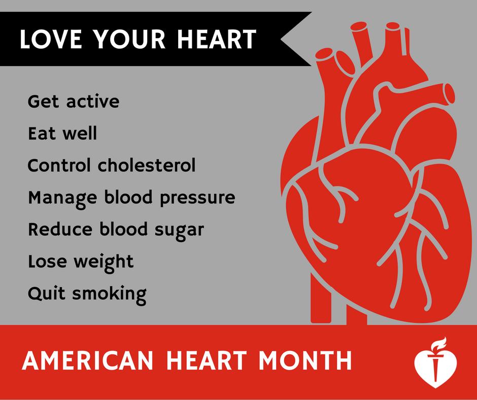 February is American Heart Month.  LOVE your heart! https://t.co/jKfo3kWwiY https://t.co/BEyBpPkx0i