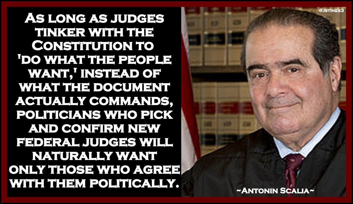 MT @jstines3: Antonin Scalia on WHY SUPREME COURT PICKS are so hotly contested now. #SCOTUS #ConfirmGorsuch #PJNET