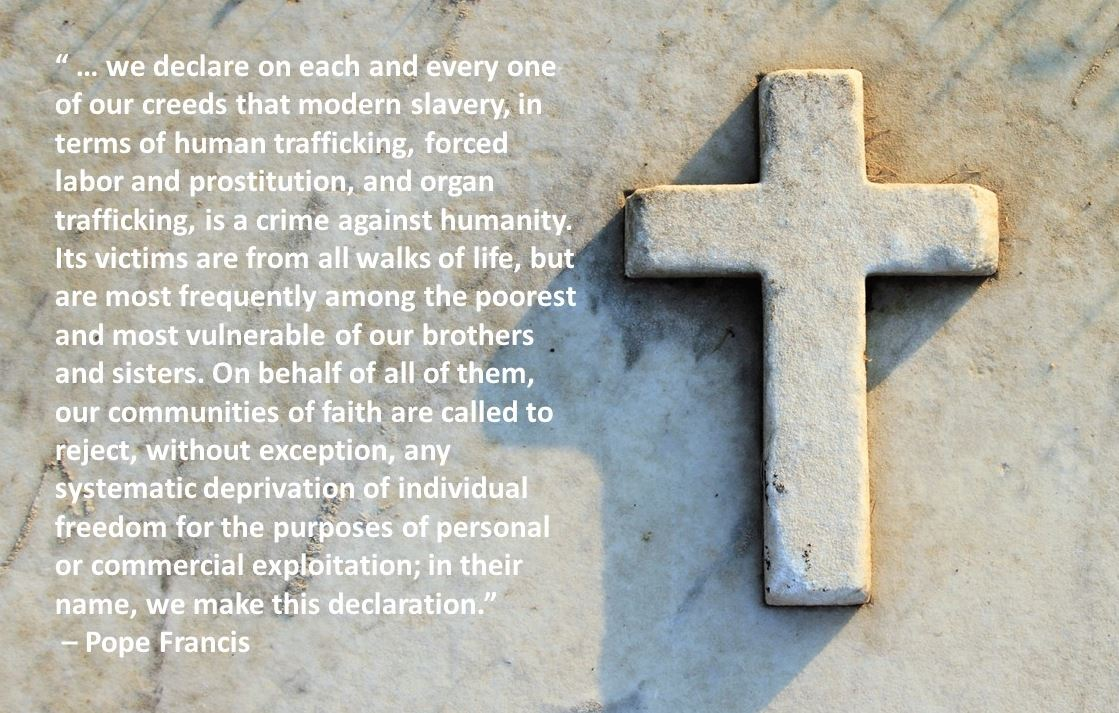 Thank you @TheCHAUSA and all participants for an enlightening #TraffickingChat. My final share is a quote from @Pontifex - our declaration! https://t.co/b0J8mrBsAz